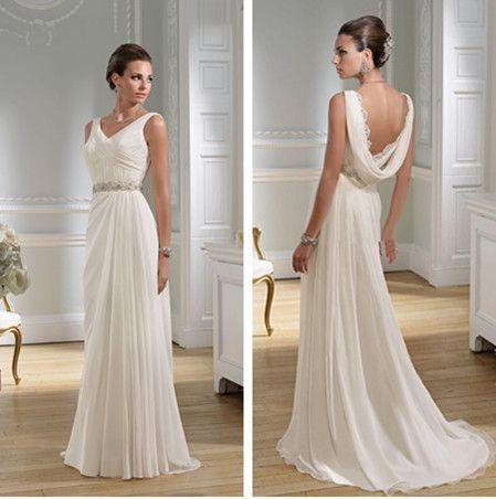 2013 Sexy V-neck Chiffon Summer Sheath Greek Wedding Dresses Granceful Nymph Crystals Beaded Waist Bridal Gowns BO1147