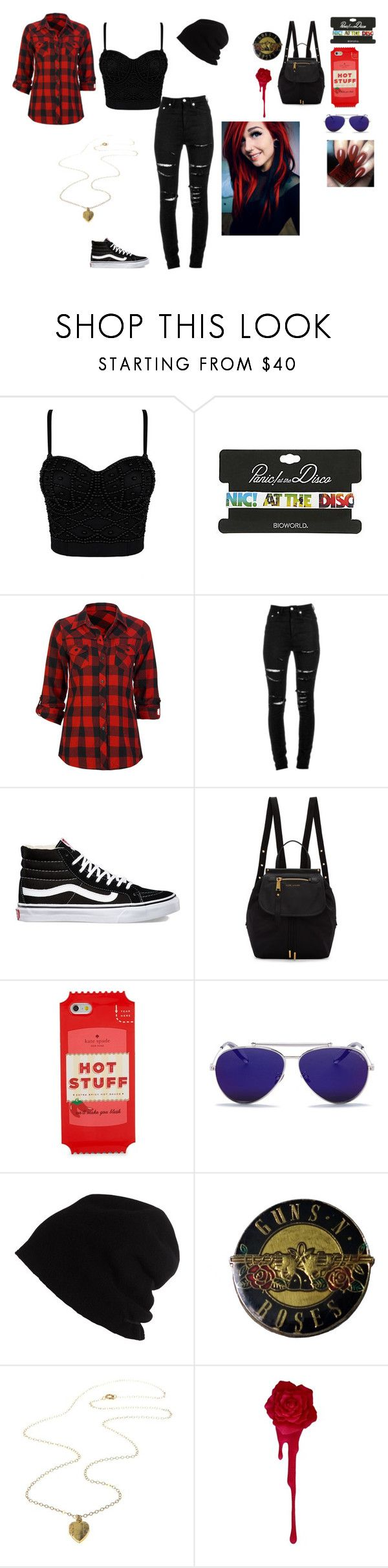 """""""black and red"""" by bring-me-the-sirenz on Polyvore featuring Hot Topic, Full Tilt, Yves Saint Laurent, Vans, Marc Jacobs, Kate Spade, Alexander McQueen and SCHA"""