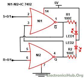 Design of SR Flip Flop with NOR Gate. Source Link: http://www.electronicshub.org/sr-flip-flop-design-with-nor-and-nand-logic-gates/