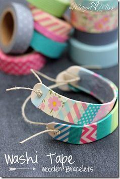 Washi Tape Wooden Bracelets #washitapecrafts