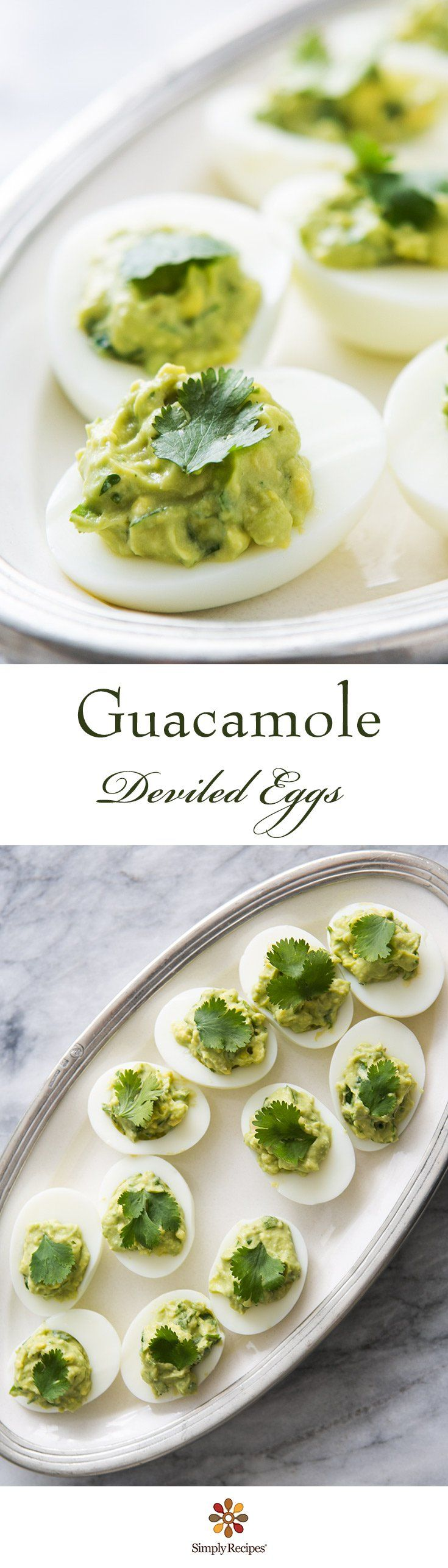 Guacamole Deviled Eggs ~ Green deviled eggs! Hard boiled egg halves, stuffed with avocado guacamole. ~ SimplyRecipes.com