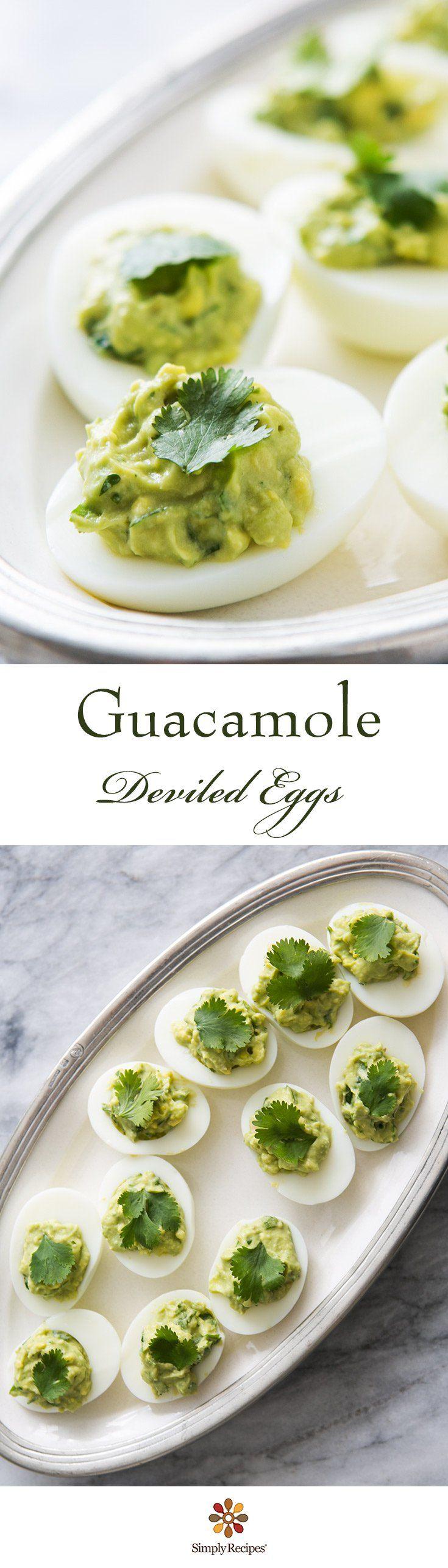 Guacamole Deviled Eggs ~ Green deviled eggs! Hard boiled egg halves, stuffed with avocado guacamole. ~ SimplyRecipes.com