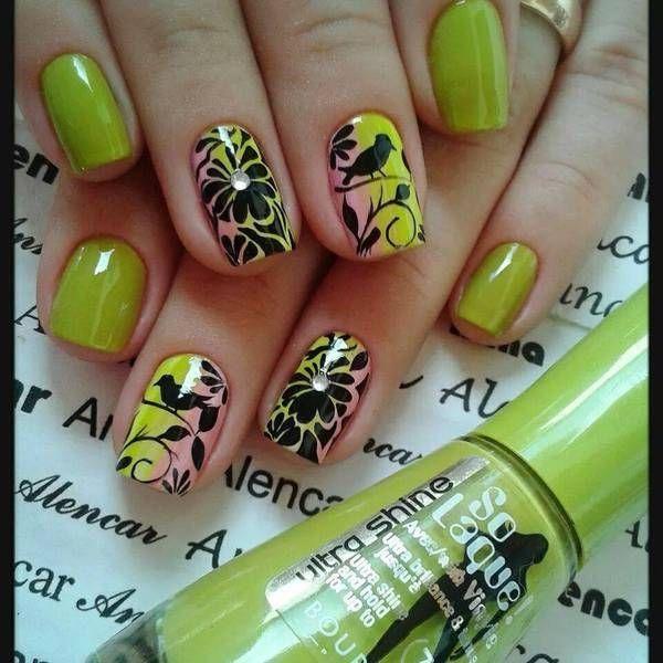 Bird nail art, Bird nails, Bright gel polish for nails, Bright gradient nails, Color transition nails, Everyday nails, flower nail art, Gradient nails 2016