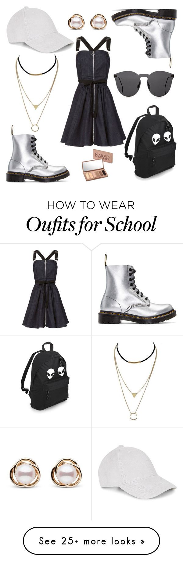 """Untitled #296"" by elmebetegszoszi on Polyvore featuring Dr. Martens, Adam Selman, Le Amonie, Urban Decay, Illesteva and Trilogy"