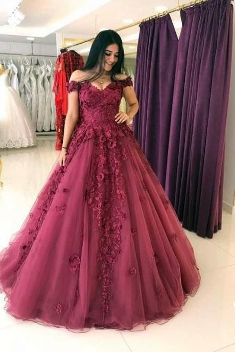 Lace Appliques Prom Dresses Ball Gowns,Tulle Quinceanera Dress,Off Shoulder Evening Gowns