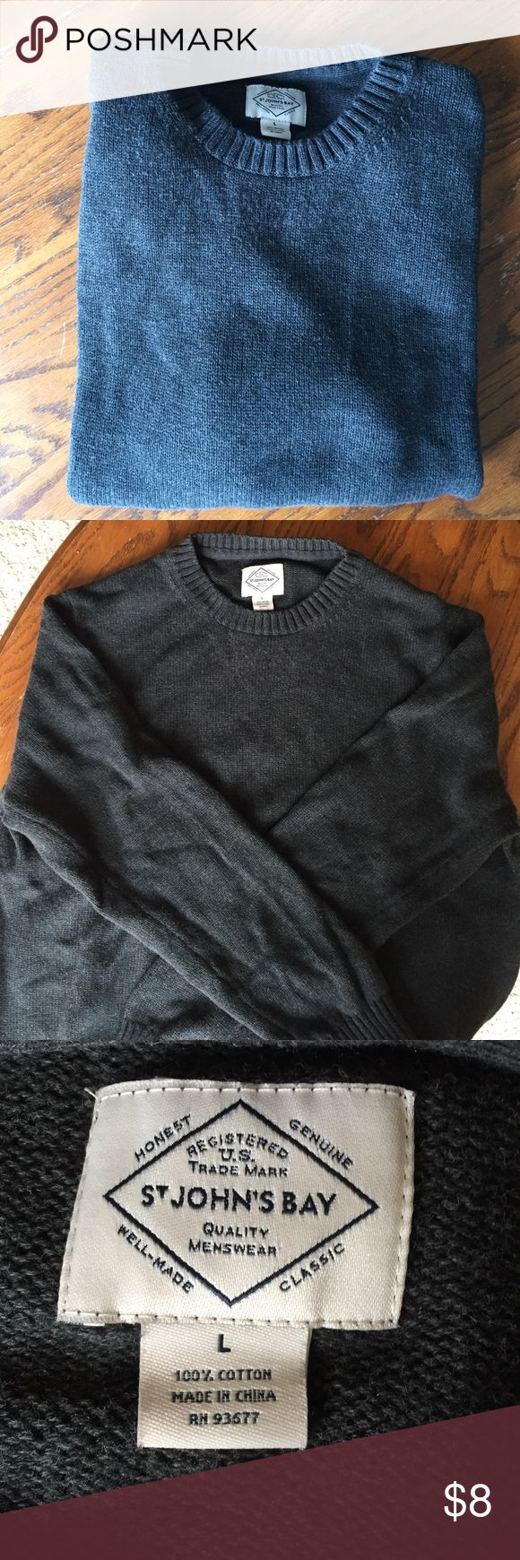 Men's crewneck sweater Men's crewneck sweater for sale, charcoal gray with green undertones. Size large. Great for a cozy afternoon in with a hot cup of coffee. St. John's Bay Sweaters Crewneck