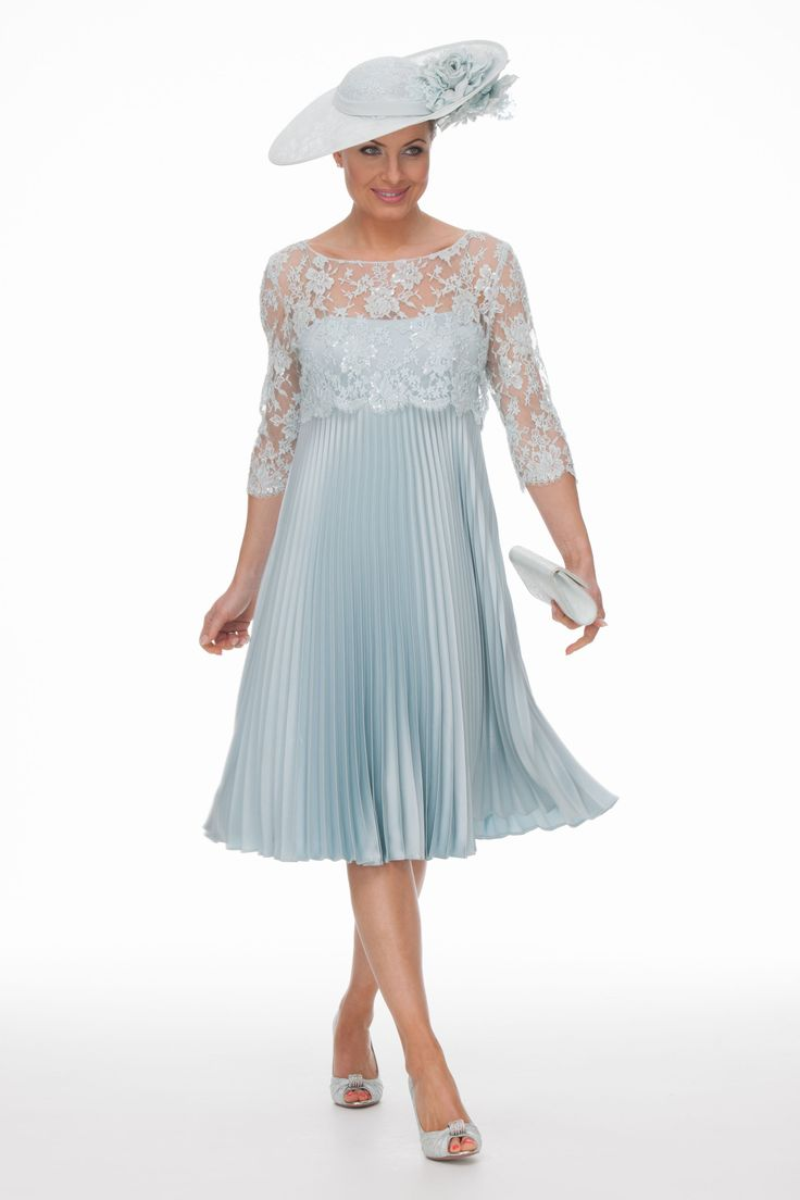 sunray pleated dress with lace bodice  joyce young