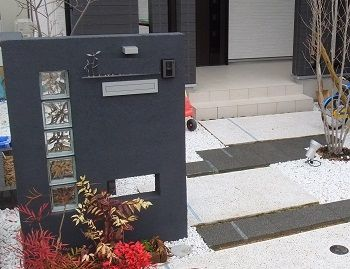 塗り壁の門柱いろいろ   かんたん庭レシピ