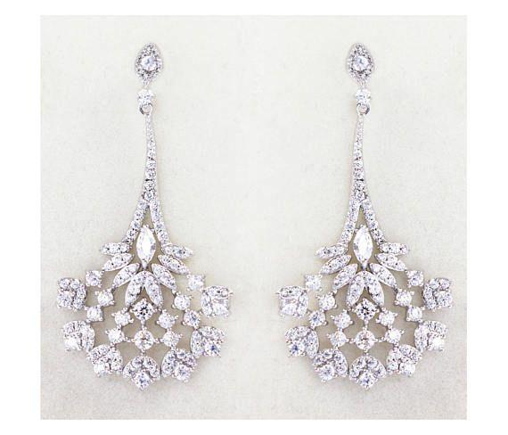 Check out Silver Crystal Bridal Earrings, Chandelier bridal earrings, Bridesmaid jewelry - Mia Peacock Earrings on wearableartz