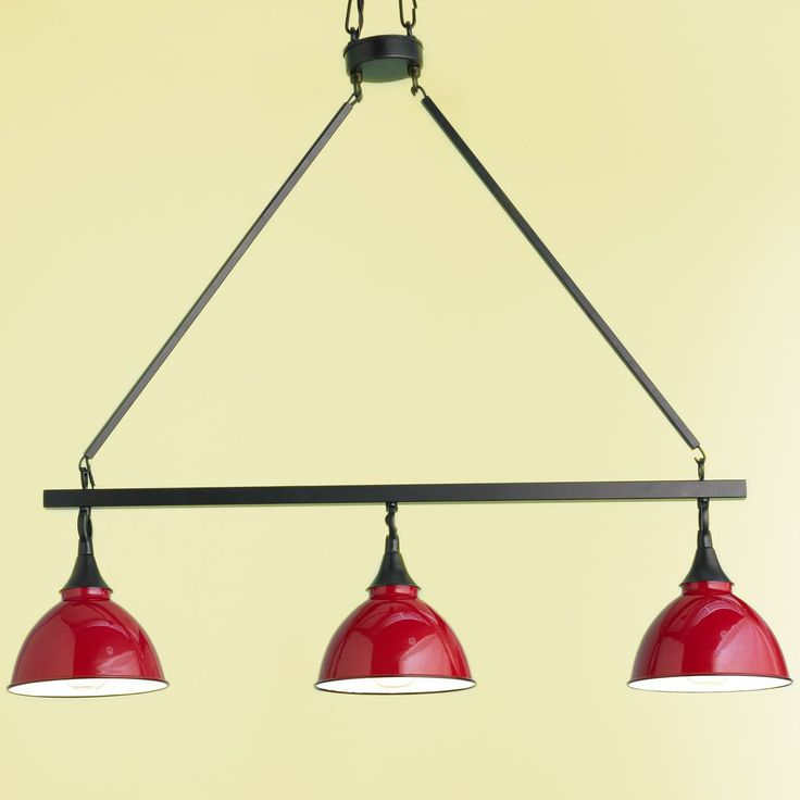 Restoration Metal Dome Shade Kitchen Island Or Pool Table Chandelier With Red Enamel Shades