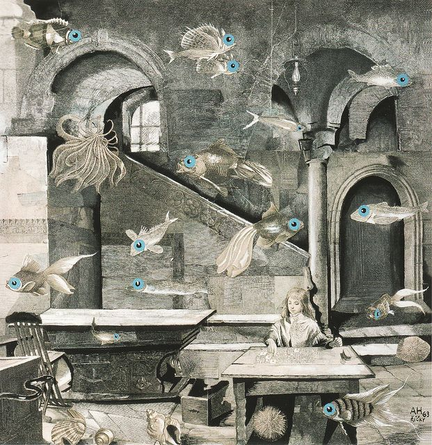 Adolf Hoffmeister, In the Pisces Constellation, 1963, collage by kraftgenie, via Flickr