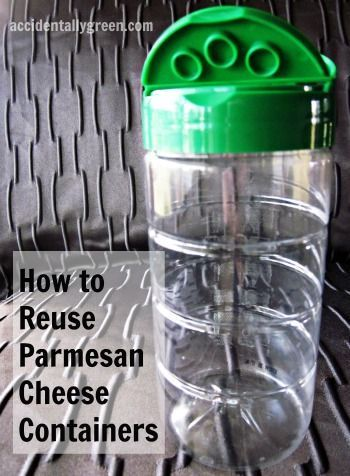 I love how easy it is to reuse parmesan cheese containers. I just snip the label off and it's a clear plastic cylinder with an über-useful lid. #diy #idea #jar