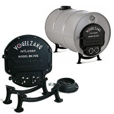 """DOOR KIT BARREL STOVE [Misc.] by Vogelzang. $73.54. Transform a steel barrel into a heat radiating wood stove! The Vogelzang Deluxe Barrel Stove Kit is completely cast iron and easily converts a 55 or 30 gallon drum into a highly efficient heater. The Deluxe Barrel Stove Kit features a large feed door, a separate gasketed ash cleanout door engineered for """"easy clean"""" ash removal, a """"cool touch"""" cam-lock type door latch, two counter weighted spin dial draft controls, cast iron leg..."""