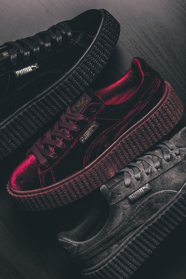 Puma Creepers velvet sneaker in red, black and gray   – Fashion/ Ootd / Accessoires