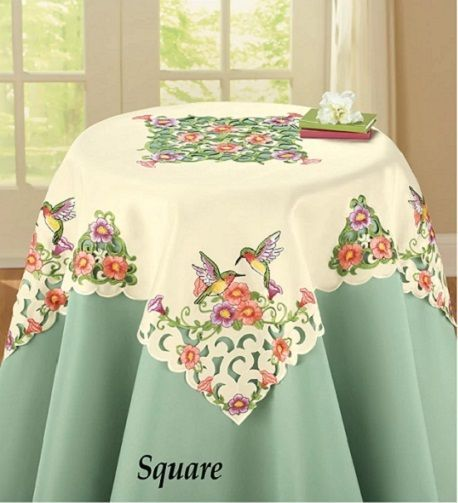 Hummingbird Birds Spring Flowers Cream White Dining Kitchen Tablecloth  Topper
