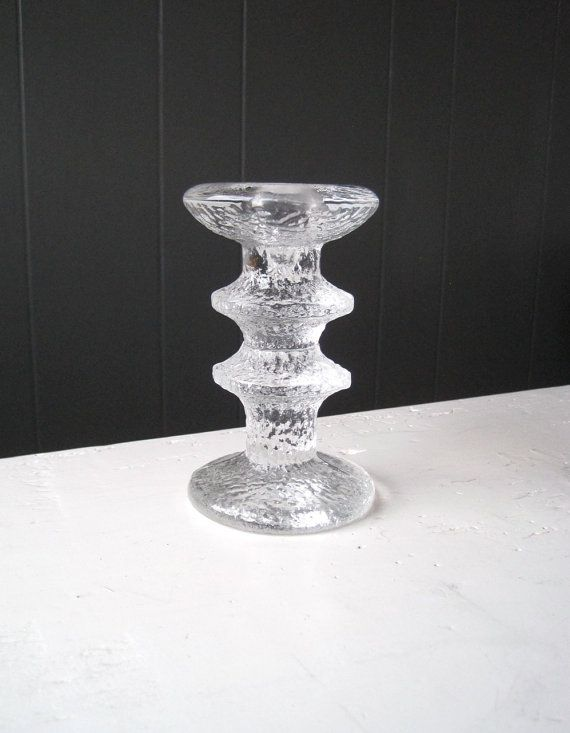 Iittala FESTIVO Two Rings Ice Glass Candlestick by DoceVikaVintage