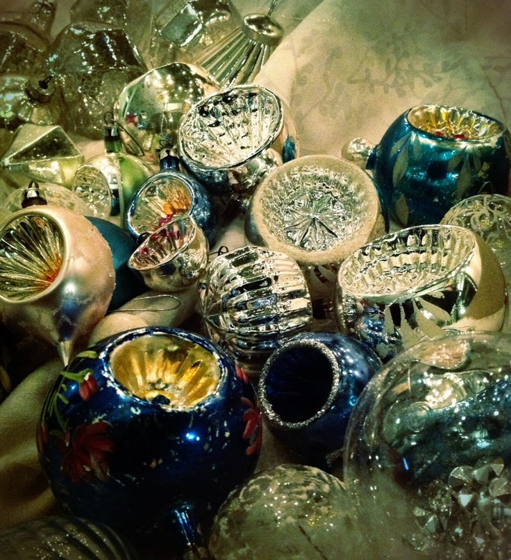 Antique glass Christmas ornaments collection