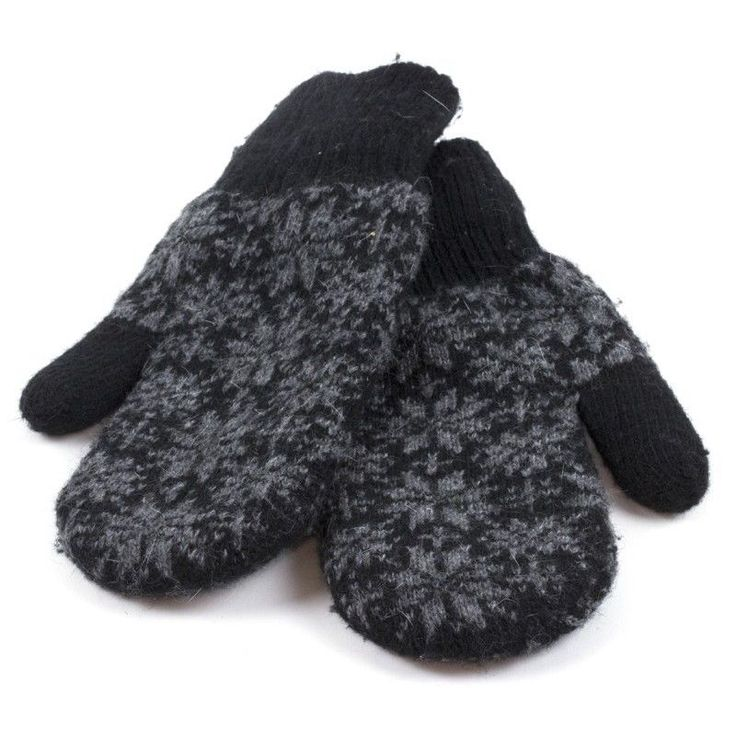 Women Black Gray Snowflake Mitts Mittens Wool Blend Lined One Size Fits Most NWT #Simi #Mittens #Everyday