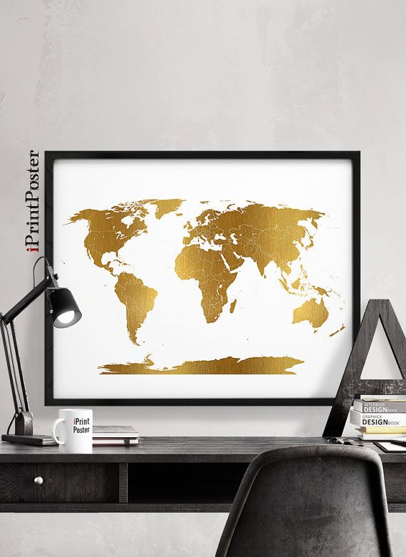 world map gold detail world map world map with by iPrintPoster
