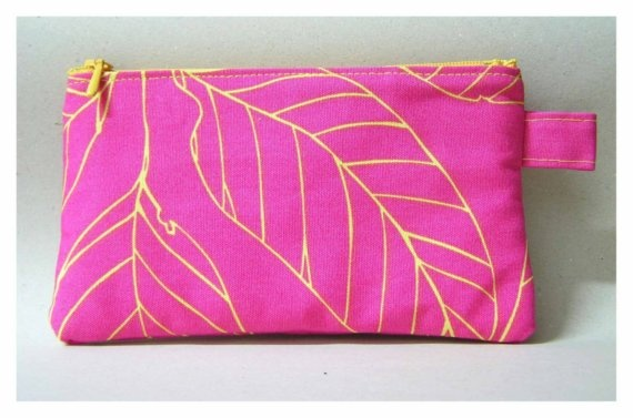 Yellow leaves on pink  zipper bag/pencil case by onnaBandA on Etsy, €10.00