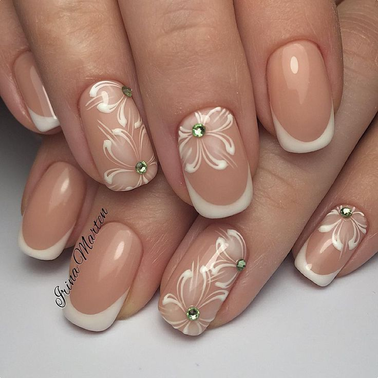 clear polish navy tips and flowers and