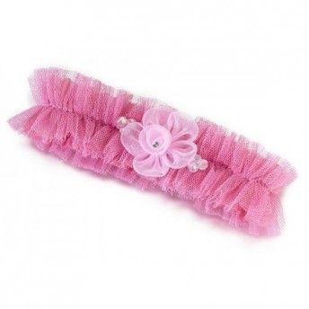 Per una #sposa un po' sbarazzina ecco una giarrettiera in #tulle #rosa ^_^