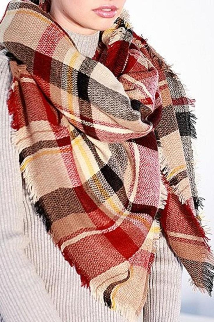 """Earth tone multi plaid oversized frayed square blanket scarf/wrap/shawl.     Measurements: 58"""" X 58""""   Earth Tone Scarf by Urbanista. Accessories - Scarves & Wraps New York"""