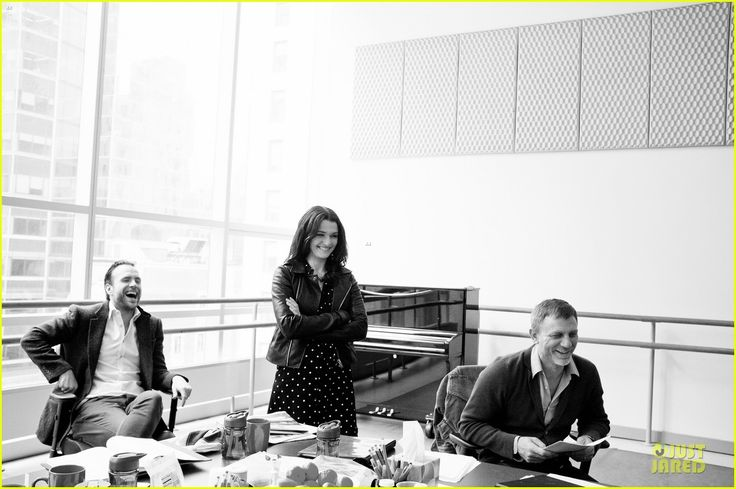 """Daniel, Rachel and Rafe Spall in rehearsal for their broadway play """"Betrayal"""""""