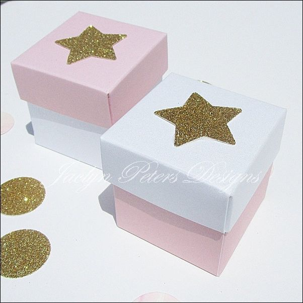 Twinkle Little Star Gold Glitter Favor Boxes