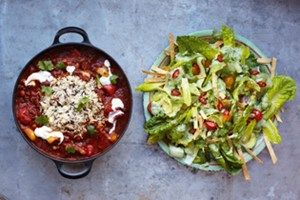 Vege Chilli with Crunchy Tortilla and Avocado Salad