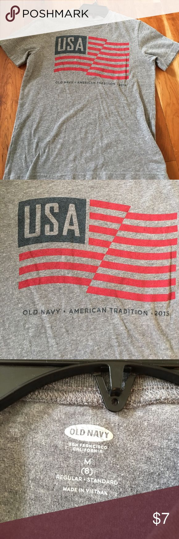 Boys tee Boys Americana gray tee with flag & USA on front.  Shirt is in MINT condition.  Wear with shorts & keeps or flip flops!  Super soft & comfy tee.  Shirt from Old Navy.  Great condition, no tears, rips, holes.  Boys size M/8. $7 Old Navy Shirts & Tops Tees - Short Sleeve