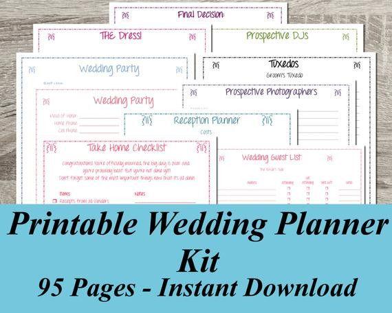 Wedding Planner Book Free Printable Best Of Printable Wedding Planner Instant Downlo In 2020 Free Wedding Planner Printables Wedding Planner Kit Wedding Planner Binder