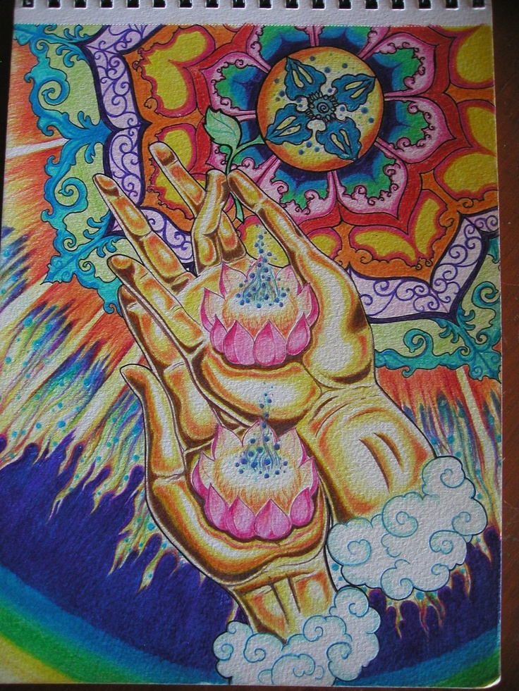 Dorje Lotus Fire    The lotus reaches through the center of a quadra Dorje also called Vajra or Thunderbolt.  From the indivisible singularity.  Alight with fire, the soul in physical manifestation stretches into the Universe.  Inward and Outward.