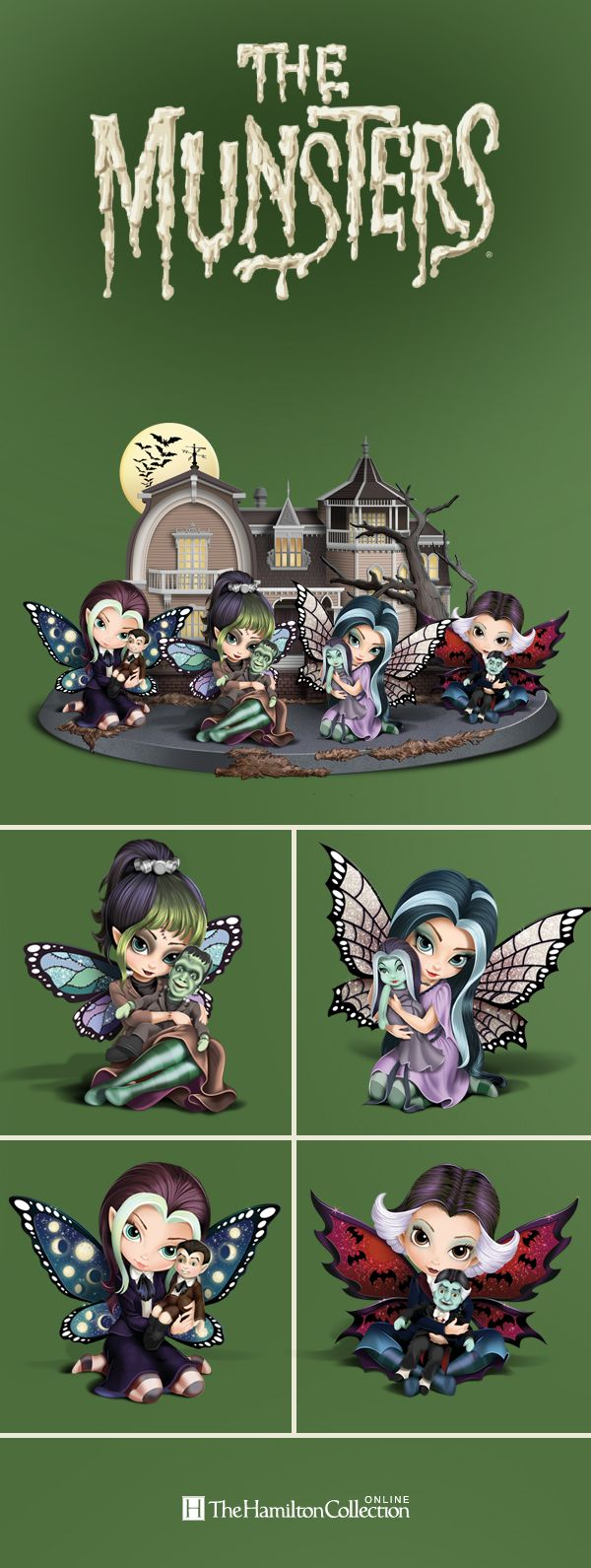 All your favorite Munsters are here: Herman, Lily, Grandpa and Eddie! Even better, they're joined by fabulous and fun-loving Jasmine Becket-Griffith fairies! With signature bright eyes, colorfully streaked hair and vibrant wings, these fairies will make your Halloween spooktacular!