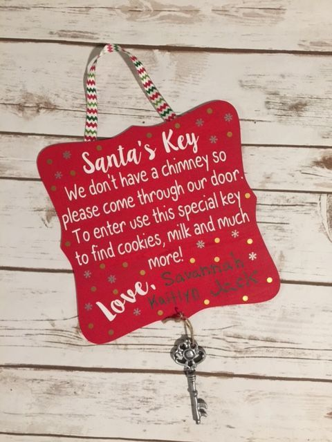Personalized Santa's Key Wooden Sign Add Your Kids Handwriting! Magic Key House Without a Chimney Fireplace Christmas Holiday Decor Skeleton