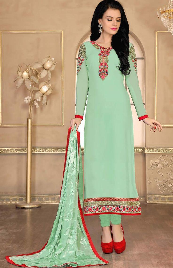 Sea Green Colour Georgette Designer Party Wear Suit Buy Sarees