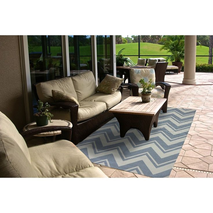 Mohawk Home Printed Indoor/ Outdoor Pool Zig Zag Blue
