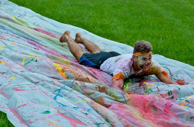 youth group slip and slide color wars