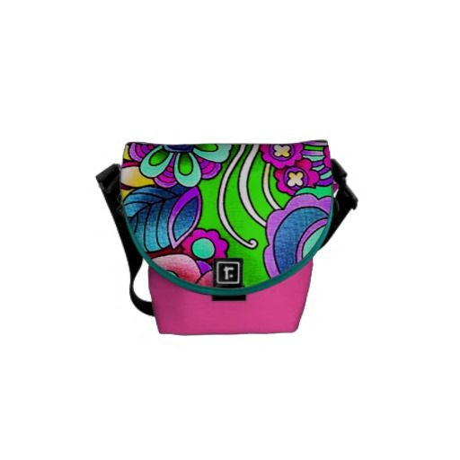 Whimsical bright purple pink abstract flowers courier bag