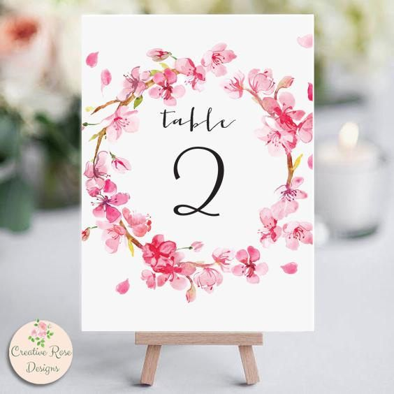 Printable Pink Cherry Blossom Wreath Table Numbers 1-30, Instant Download, Flower Table Numbers, Table Number Template, Wedding Printable