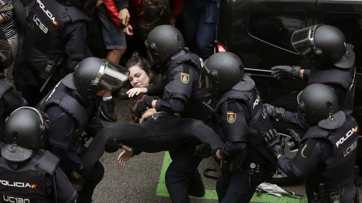 What Spain stands for. Images from Catalonia where a massive police operation is under way to halt the disputed referendum.
