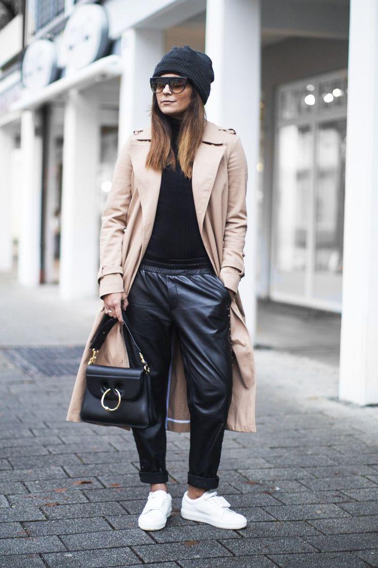Fashion Landscape | Raiine Copenhagen Leather Track Pants, Acne Studios Adriana Sneakers, JW Anderson Pierce Bag, Zara Trenchcoat