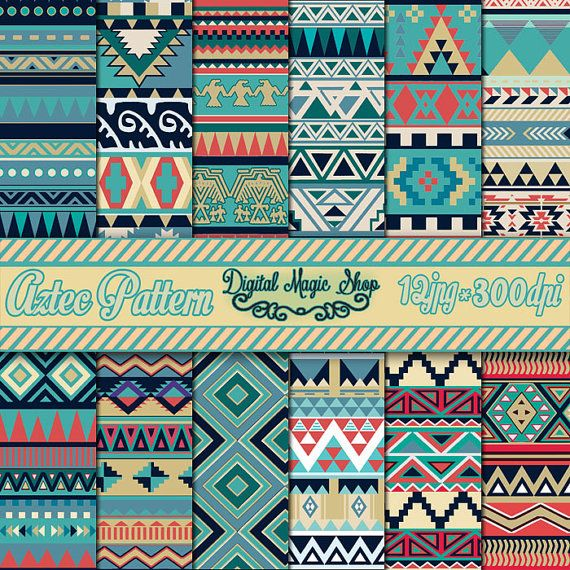 12 Nature Tones Aztec Pattern Digital Paper, Ikat, geometric pattern, native Indian, Navajo, arrows, Personal and Small Commercial use