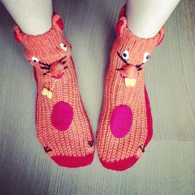 Silly Feet! #Cat #socks #footwear #color #weird #funny #fashion #antifashion #ugly #nerd #colorful