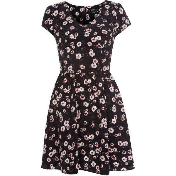 Black V Neck Daisy Print Tea Dress (86 HRK) ❤ liked on Polyvore featuring dresses, vestidos, short dresses, v neck mini dress, floral tea dress, v neck dress, tea party dresses and floral-print dresses
