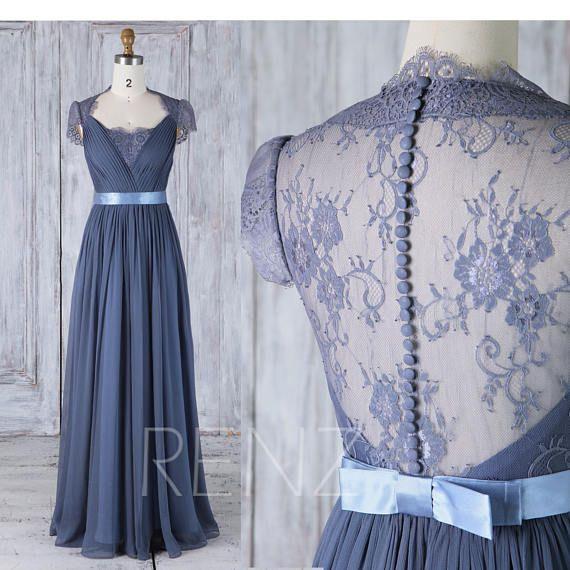 Bridesmaid Dress Dark Blue Chiffon Wedding Dress Lace Cap Sleeve Illusion Back Maxi Dress A-Line Elegant Dress Full Length (F120B)