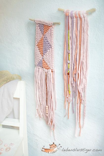 Use fabric yarn to make wall-hangings, rugs, bracelets, necklaces, baskets, garlands and more. purchase multiple colors on amazon at http://www.amazon.com/Premier-Yarns-Craft-Tee-Yarn-White/dp/B00DV8Y9PK/ref=pd_sim_sbs_e_6