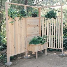 Patio Wall and Planter Plan - Good idea to screen something, like a carport or the garbage/recycle bins...