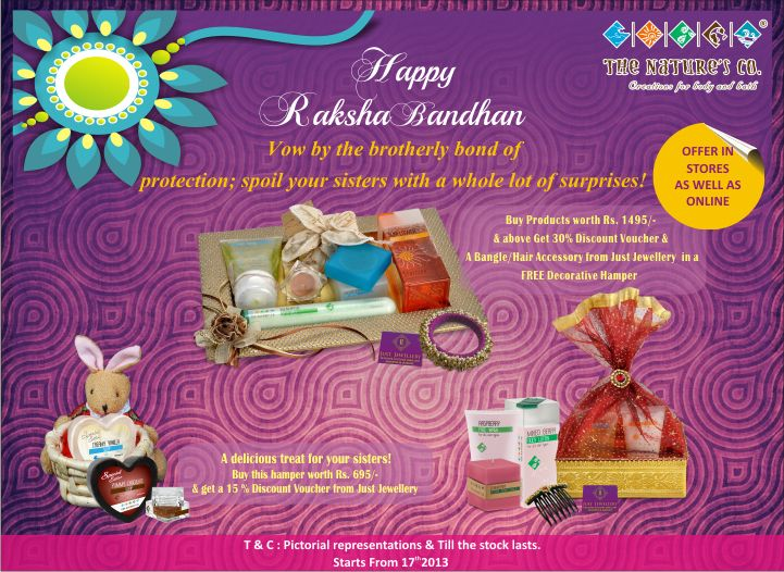 Rakhi treats for your sister. Choose from various gifting options that The Nature's Co. has to offer this Raksha Bandhan and get free designer jewelry  from Just Jewellery