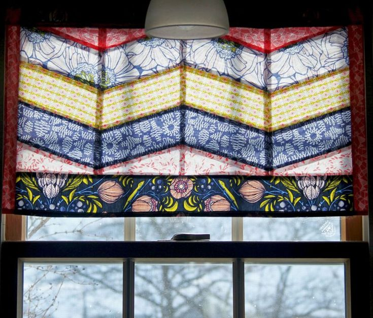 Fat Quarter Gang - Chevron Valance by Maureen Cracknell Handmade ... looks like a stain-glass window.